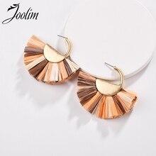 Joolim Jewelry Wholesale/ Colorful Raffie Tassel Fringe Hoop Earring Design Earrings