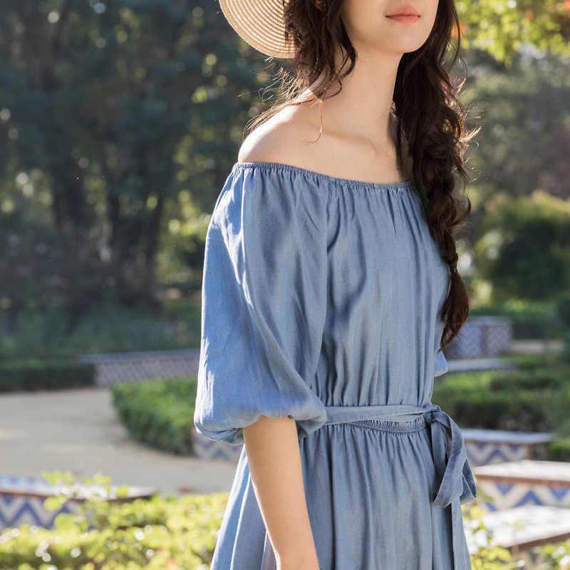 Inman 2018 летние новые эластичные складки два способа носить воротник со сборками пышные рукава Пояс Талия женские джинсовые платья