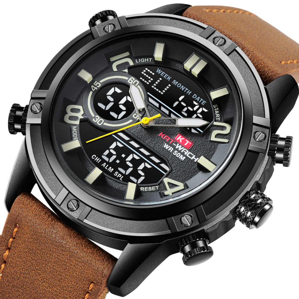 d4e9f68f6 KAT-WACH Mens Watches Top Brand Luxury Waterproof Leather Military Men's  Sport Quartz Digital Watch