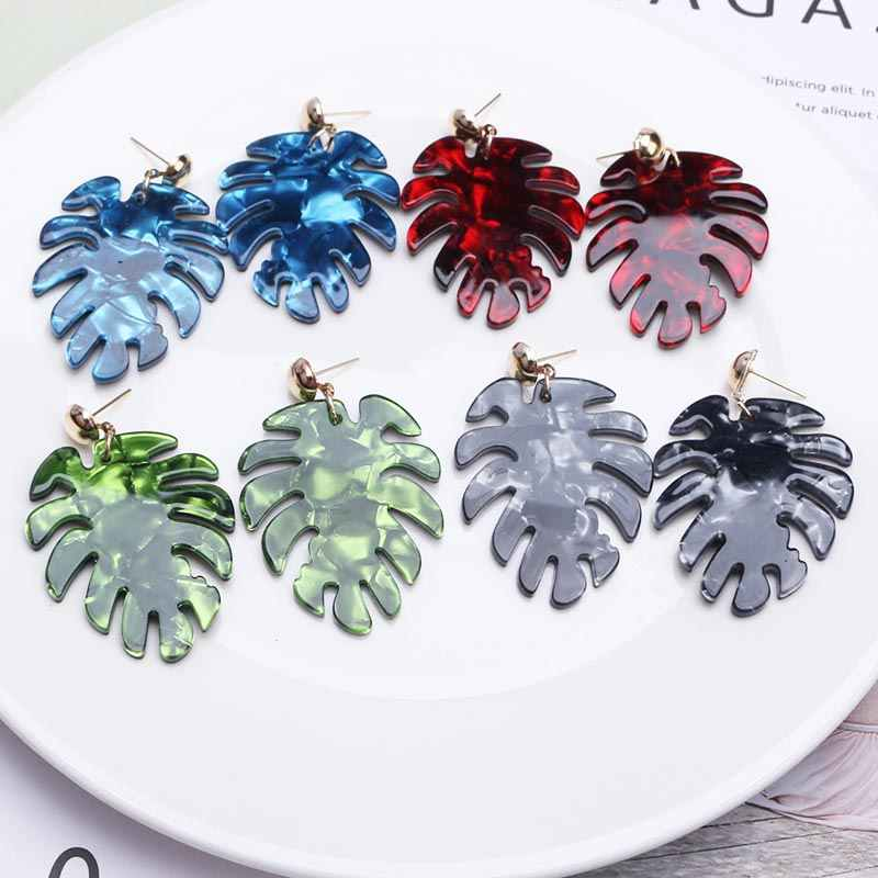2019 Bohemian Green Tree Leaves Acrylic Earrings Women Large Statement Earrings Red Blue Black Plant leaf Earrings Jewelry