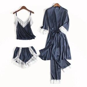 Image 2 - Fiklyc roupa interior feminina sexy quatro peças pijama define calças curtas + calças compridas + tops + roupões de banho laço do falso conjuntos de pijamas de seda