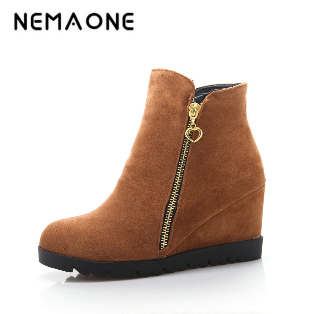 Aliexpress.com  Buy NEMAONE New Fashion Women Winter Ankle Boots Women Hidden Wedges Boots ...