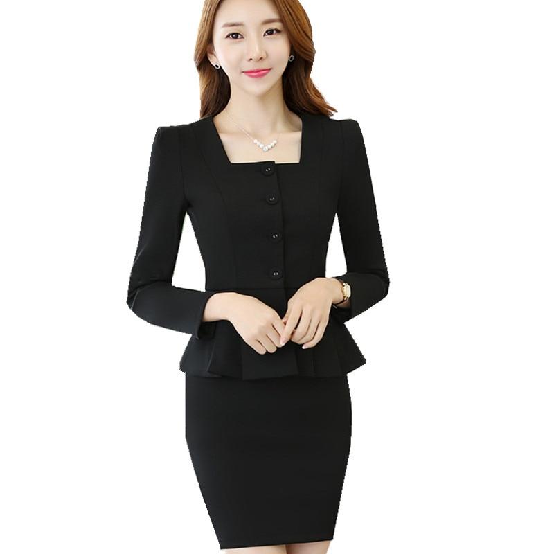 Office Skirt Suit Woman Suit Ladies 2 Pieces Blazer Jacket+Skirt Tailleur Jupe Femme Career Business Formal Suit Ow0415