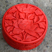 Exquisite Chinese Flower Red Cinnabar Lacquer Beautiful Peony Auspicious Jewelry Box