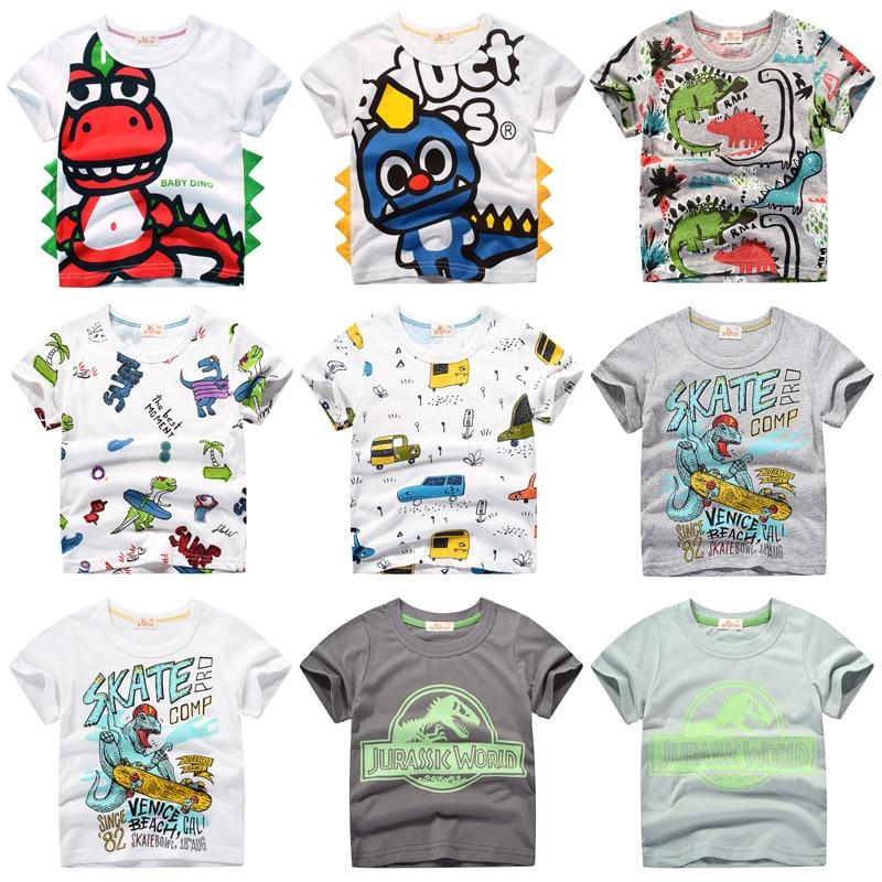 INPEPNOW Children T-shirt For Boy 2019 Animal Print Dinosaur Boys T Shirt For Girls Tops Cartoon Kids Tshirt Clothes 5-14 Yrs