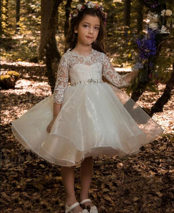 White Ivory Flower Girl Dress For Wedding with Sash Crystals 3/4 Long Sleeve Organza Girls Pageant Gown Custom Any Size vintage round collar long sleeve embroidered organza dress for women page 7