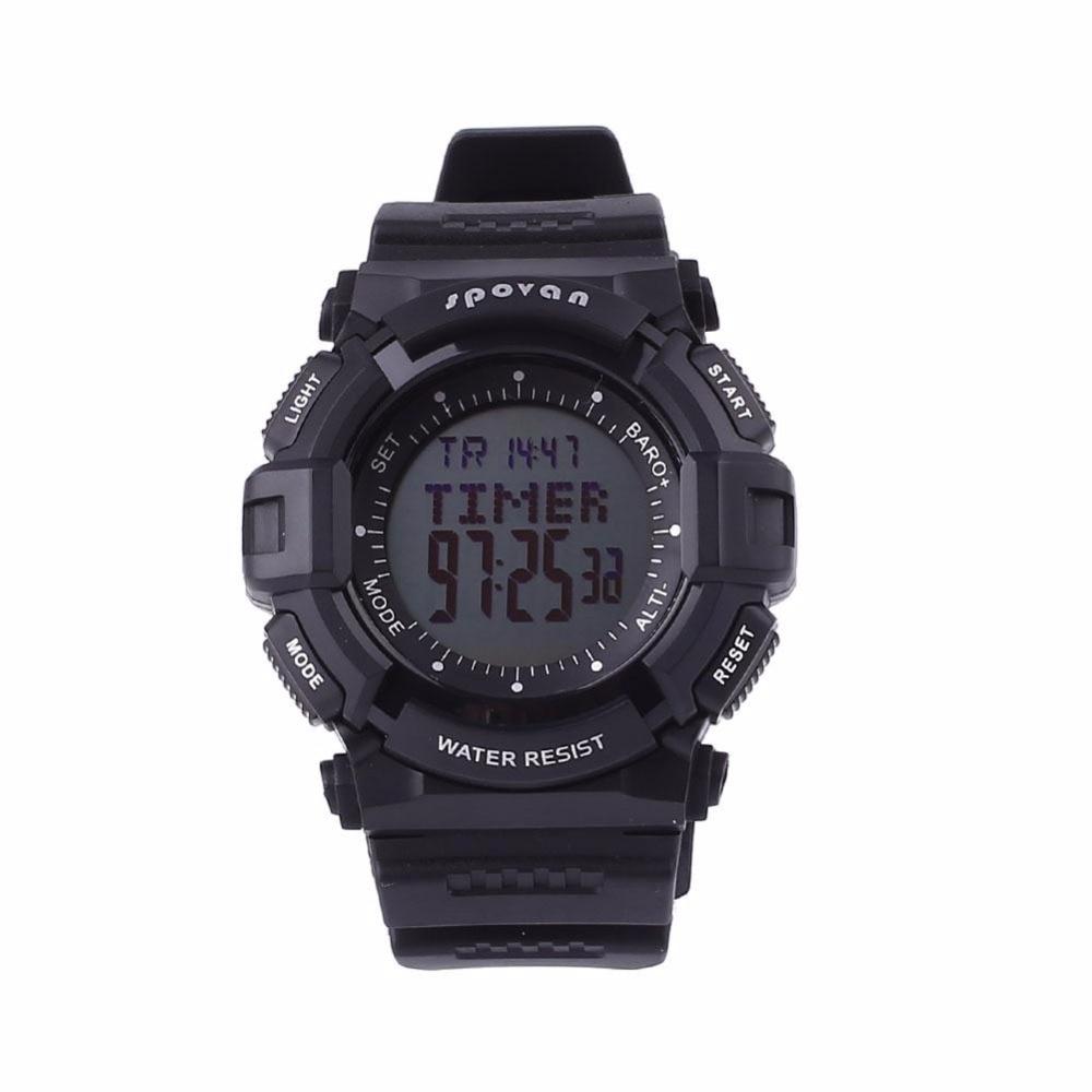 SPOVAN Men Digital Sports Watch Outdoor Wristwatch Waterproof Altimeter/Weather Forecast/ LED Backlight/Stopwatch