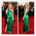 MGC07 Hot Sell Celebrity Dresses 2015 Met Gala Emma Roberts Emerald Green Sexy Long Sleeve Evening Gowns Evening Dresses