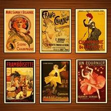 Cartel Vintage para bebidas con alcohol, vino, Francia, Champagne, lienzo clásico, pinturas, carteles, pegatinas, decoración del hogar, regalo