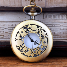 Cindiry Alice in Wonderland Theme Rabbit &Playing Card & Key Pocket Watch Vintage Necklace Pendant Bronze Watch Gifts P0.21