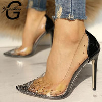GENSHUO Women Pumps High Heels Black Red Sexy High Heels Shoes for Women Stilettos Fashion Clear Wedding Party Shoes Rhinestone