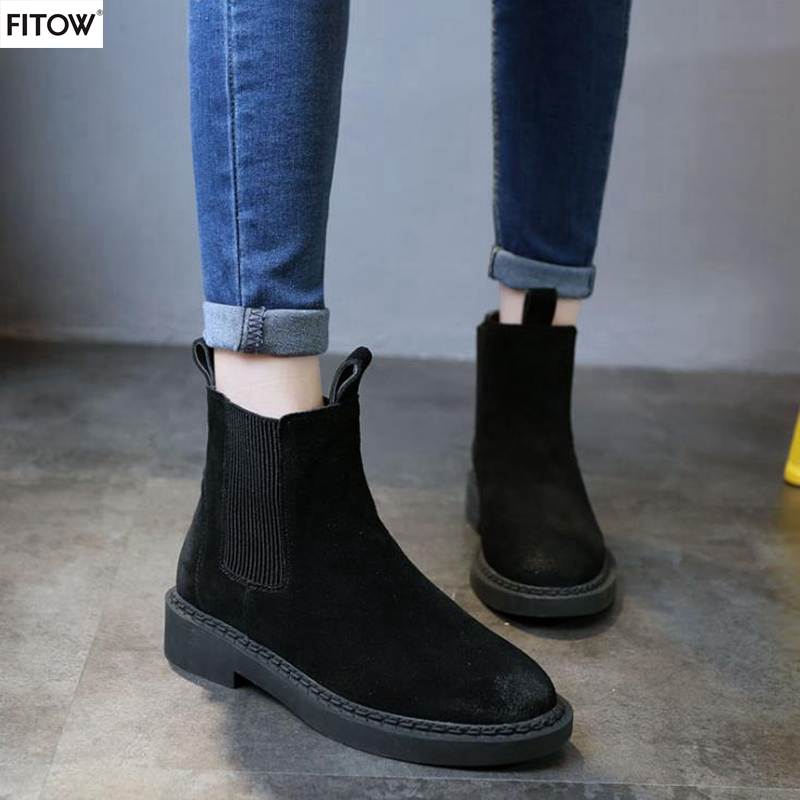 New Arrival Women's Winter Single Martin Boots Genuine Leather Round Toe Boots Thick With Short  Martin Boots for Women short boots woman the fall of 2017 a new restoring ancient ways british wind thick boots bottom students with martin boots