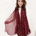 Women Grid Polka Dot Pattern Long Chiffon Soft Silky Shawl Scarves Neck Long Wrap Headscarf Spot All-match