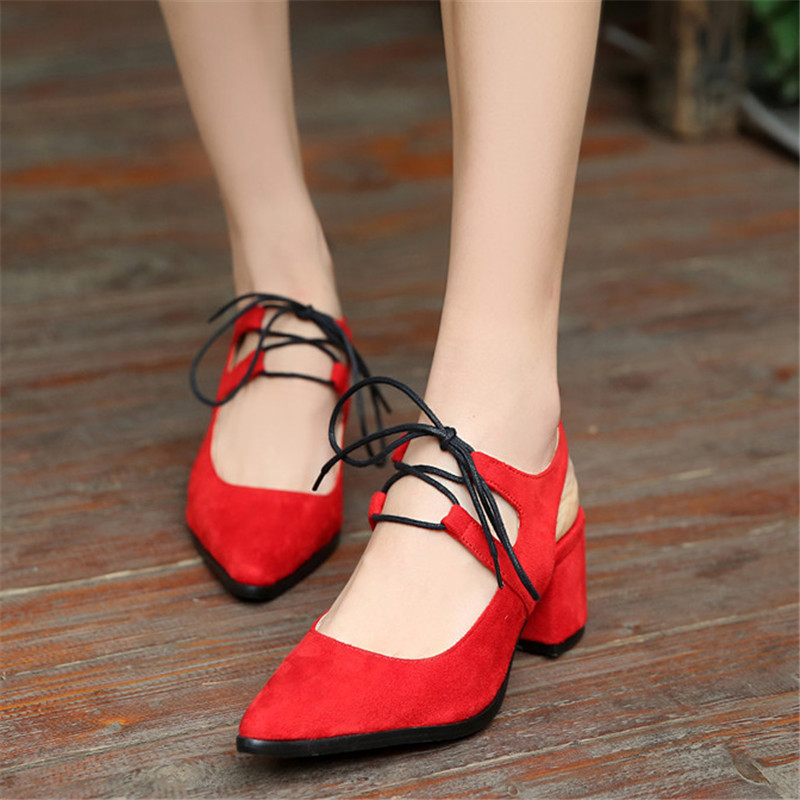 2016 Summer Hot Sexy Pointed Toe font b Women b font Pumps Square Heels Shoes High