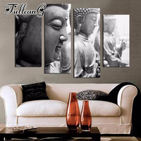 FULLCANG diy 4 piece diamond painting zen buddha icon full square/round drill 5d mosaic embroidery multi picture arts FC707
