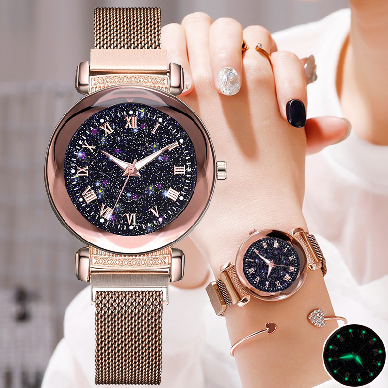 Women's Fashion Luxury Stainless Steel Magnetic Buckle Strap Watches Geometric Surface Luminous Roma Dial Female Quartz Watch