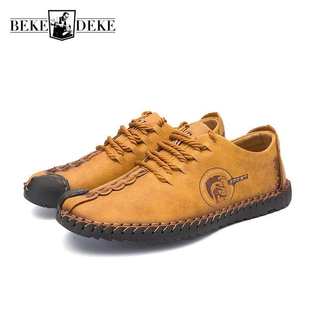 Cuero Zapatos hombres Mocasines Encaje up otoño nueva moda estilo Inglaterra hombres Venta caliente marca Zapatos calzado retro más tamaño 44