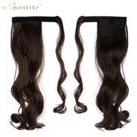 SNOILITE 24inch Curly Long Ponytail Clip In Pony Tail Hair Extensions Wrap On Hairpieces Hairstyles Medium