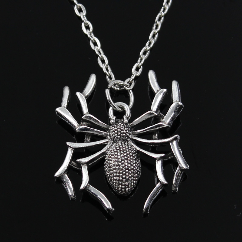 New Fashion Spider Halloween Pendants Round Cross Chain Short Long Mens Womens Silver Color  Necklace Jewelry Gift