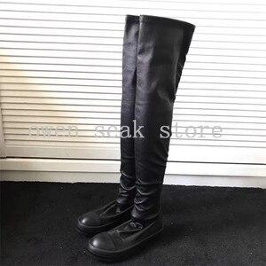 Image 4 - Owen Seak Botas deportivas de piel de oveja hasta la rodilla para hombre, botas de invierno informales, bailarinas para nieve, color negro, talla grande
