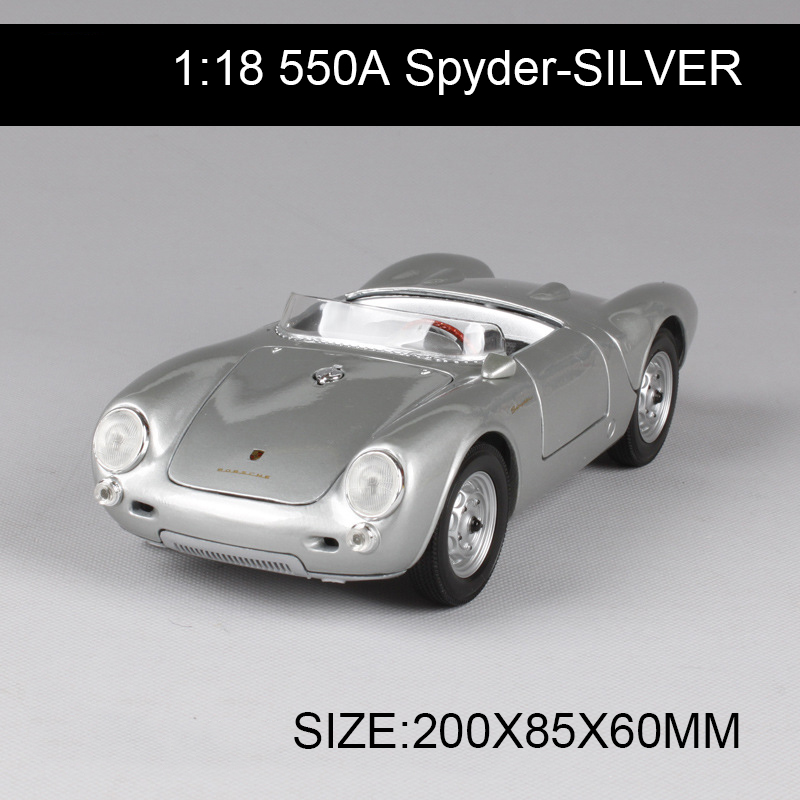 1:18 diecast Car 550A Spyder Coupe Silver Classic Cars 1:18 Alloy Car Metal Vehicle Collectible Models toys For Gift Collection 1 18 scale maisto classic children 1956 chrysler 300b antique vintage car metal diecast vehicle gift model kids toys collectible