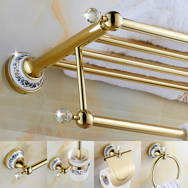 European Plating Gold Bathroom Accessories With Crystal Antique - Antique gold bathroom hardware