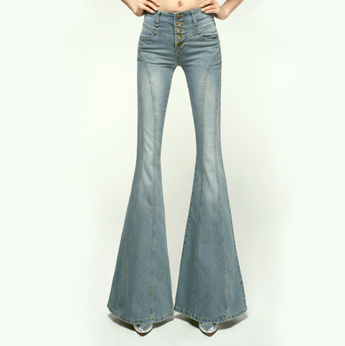 купить 2016 Flared Jeans Pants For Women Plus Size Womens High Waisted Wide Leg Jeans Vintage Denim Pants Trousers Button Fly дешево