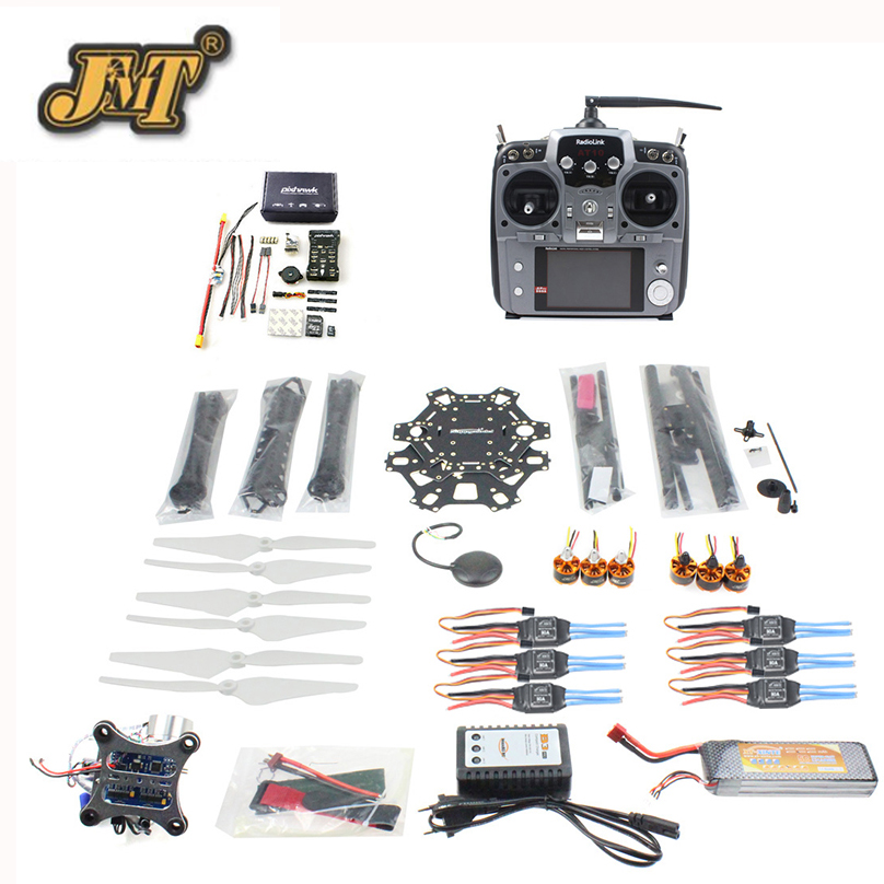 купить JMT DIY FPV Drone 6-axis Hexacopter Kit HMF S550 Frame PXI PX4 Flight Control 920KV Motor GPS Gimbal AT10 Transmitter недорого