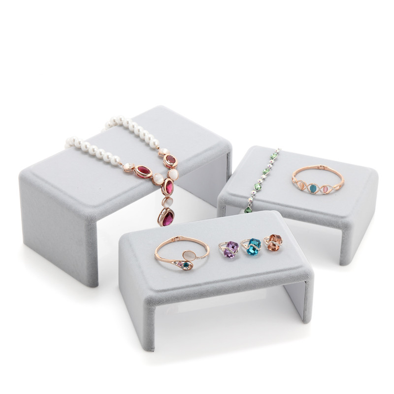Lot de 3 présentoir bijoux velours gris collier noir Bracelets anneau boucles d'oreilles présentoir bijoux présentoir