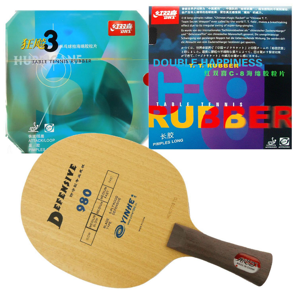 Pro Table Tennis PingPong Combo Racket: Galaxy 980 with DHS C8 and NEO Hurricane3 Shakehand Long Handle FL galaxy yinhe emery paper racket ep 150 sandpaper table tennis paddle long shakehand st