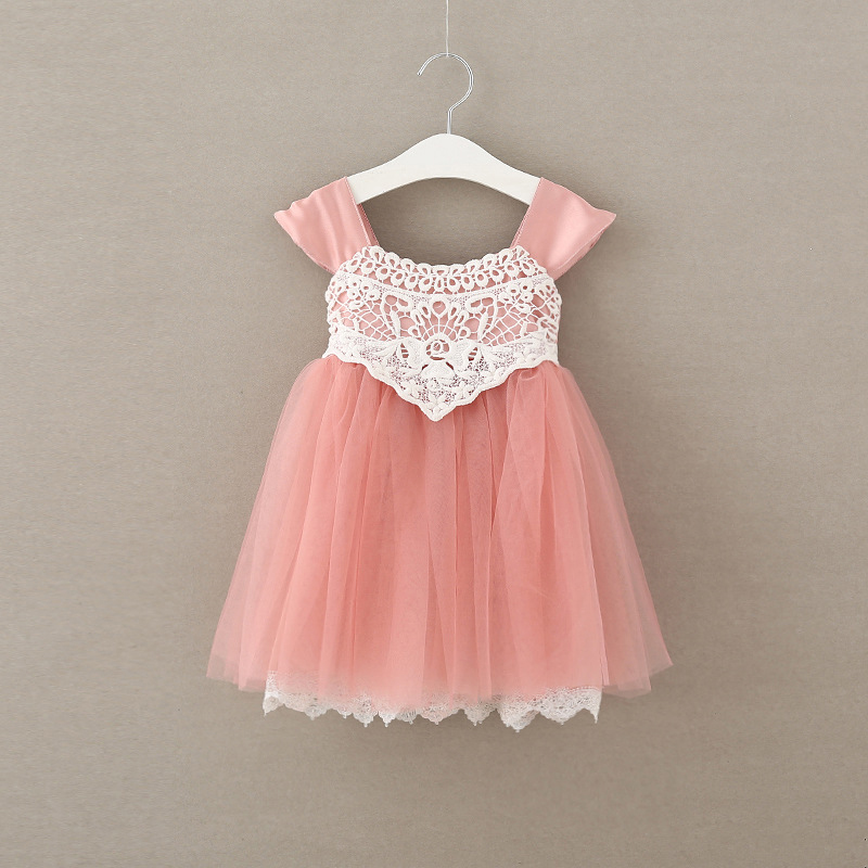 2017 summer girls lace dress cotton fly sleeve kids fairy pink dresses fashion cute baby party dress leak back princess dress summer princess baby girls lace dress kids party wedding flower dresses cute sleeveless mesh cotton children girls dress dq372