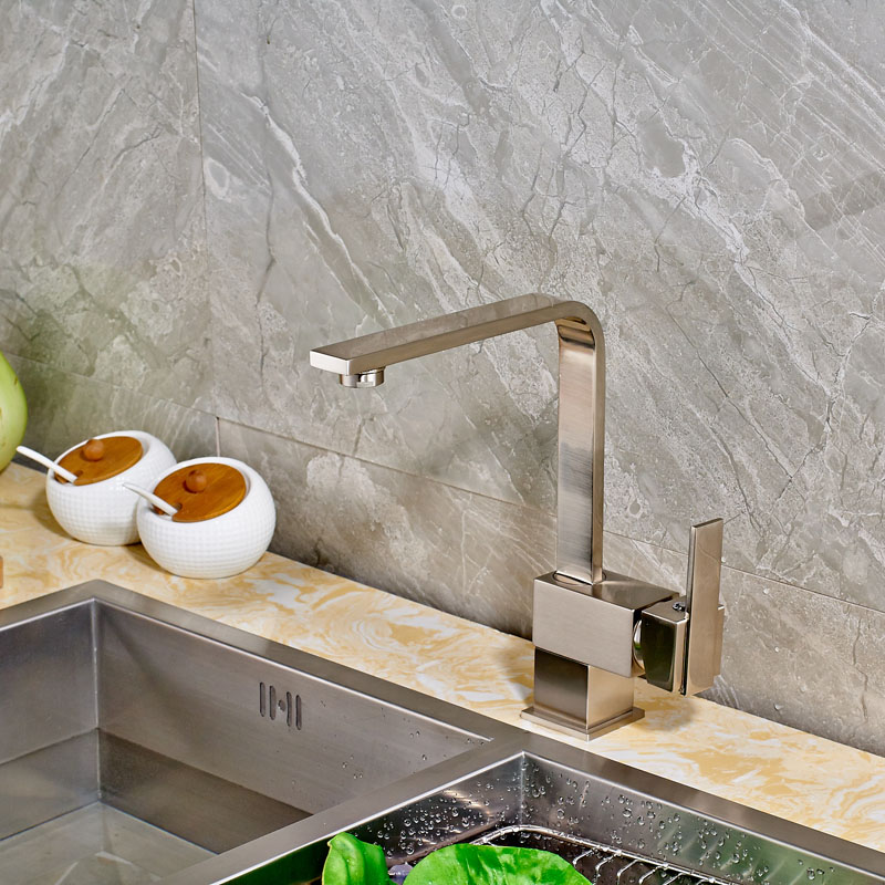 ФОТО Hot Sale Best Price Brushed Nickel Deck Mounted Kitchen Sink Mixer Faucet with Single Handle