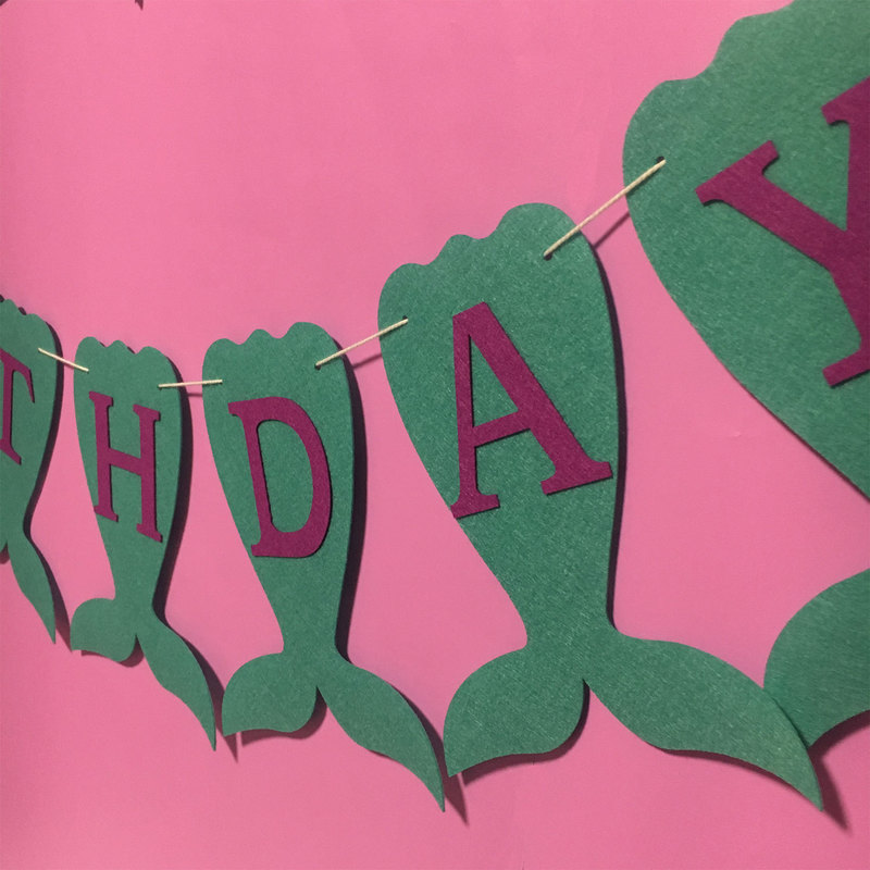 Mermaid Theme Happy Birthday Banner For Party