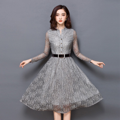 1840176fea32 Online Shop Ms Dress New Type of Cultivate One s Morality Show Thin Fashion  Lace Frocks Of Spring Collar Long Sleeve Cardigan Dress
