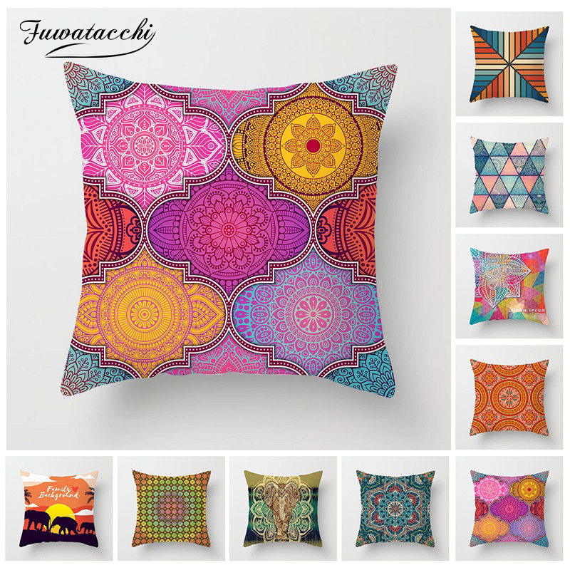 Fuwatacchi Romantic Mandala Cushion Cover Woven Linen Geometric Patchwork Pillow Cover Home Sofa Chair Decoration Pillowcases