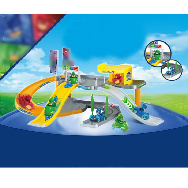 Pj Cartoon Mask Parking Lot Toy Les Pyjamasques Connor Greg Amaya Racing Track&Car Jouet Children Christmas Juguetes Gift on stock new super thomas small train electric track car boy puzzle large car racing for children s christmas gift kids toys