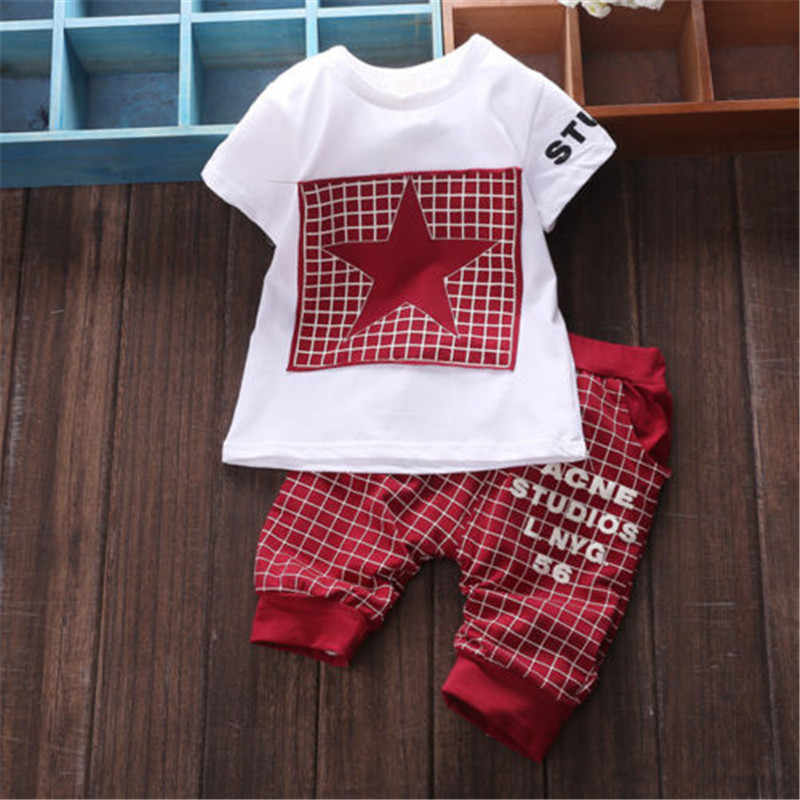 6911970d6dc ... Baby Boy 2 Piece STAR Printing Clothes Sets Short Sleeve Tops T-Shirt +  Plaid ...