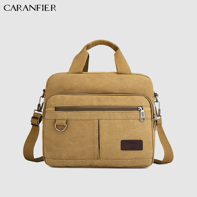 CARANFIER Mens Briefcase Casual Canvas Messenger Bags Large Capacity Outdoor Travel Bags Document Laptop Shoulder Handbags 2019
