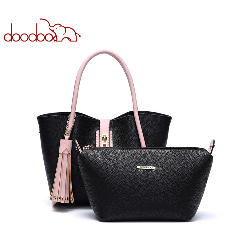 DOODOO Women Handbag Tote Bucket Bag Female Shoulder Crossbody Bags Ladies Pu Leather Tassel Color matching 2019 Top-handle BagDOODOO Women Handbag Tote Bucket Bag Female Shoulder Crossbody Bags Ladies Pu Leather Tassel Color matching 2019 Top-handle Bag