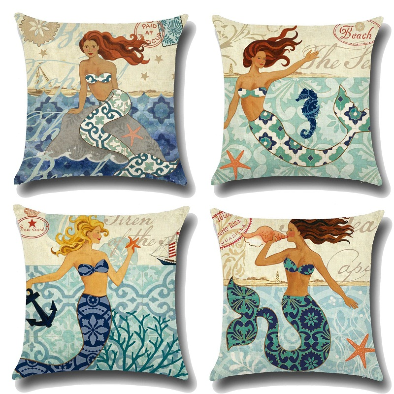 2018 Sexy Mermaid pattern Cushion Cover Customized Throw Pillow Home Decorative For New Year Cotton Linen Square Printed Cojines