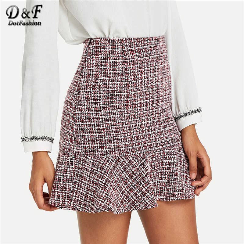 08acb57dc248 Dotfashion Ruffle Hem Bodycon Skirt High Quality Women Fashion 2019 Casual  Autumn Womens Clothing Summer Above