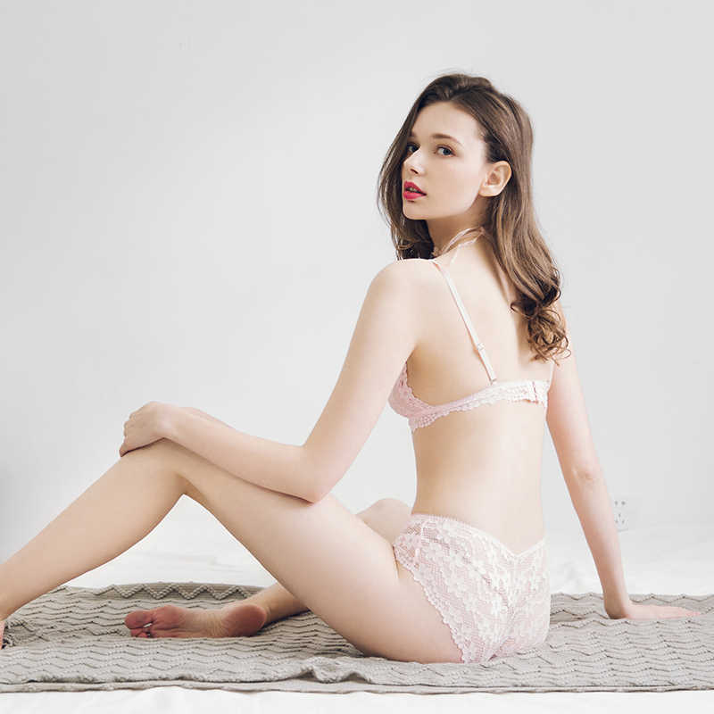 1032e49be ... French Pink Lace Floral Seamless Bralette Set Sexy Triangle Cup Bras No  Steel Ring Cross Back ...