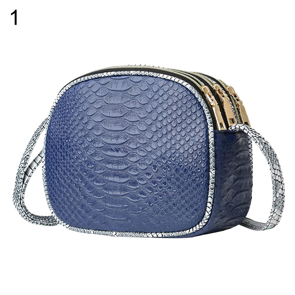 Women Snakeskin Faux Leather 3 Zipper Bag Shopping Crossbody Shoulder Pouch Gift