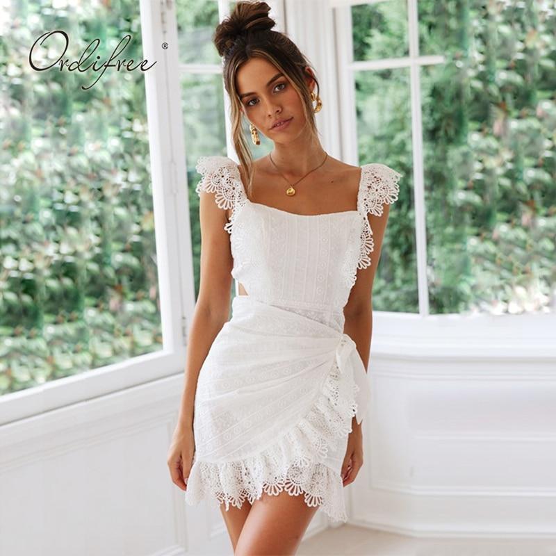 08b06ee56e6 Ordifree 2019 Summer Embroidery Dresses Spaghetti Strap Women White Lace Mini  Dress Off Shoulder Crochet Sexy