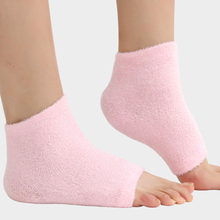 1 Pair Spa Moisturizing Treatment Gel Heel Socks Beauty Feet Exfoliating Calluses Cracked Dry Foot Skin Care Protectors Pink