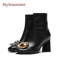 Stylesowner 2018 Latest Coming Gold Metal Button Boots Crystal Decor Real Leather Thick High Heel Short Boots For Woman Side Zip