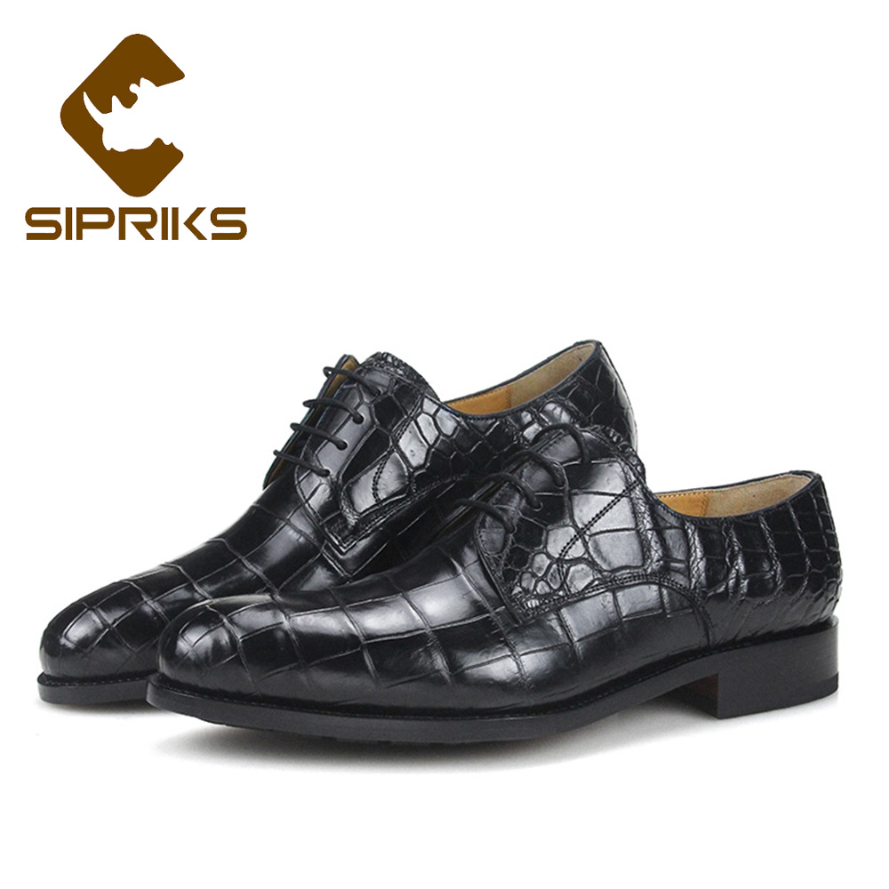 Sipriks Luxury Imported Black Crocodile Skin Dress Shoes Mens Italian Handmade Goodyear Welted Shoes Leather Outsole With Rubber цена 2017