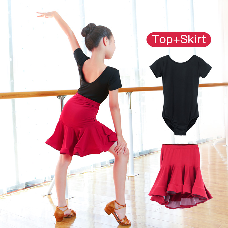 Girls Latin Training Dress Salsa Tango Rumba Ballroom Dance Dresses Latin Mermaid Skirts