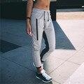 2017 Мода Женщины Повседневные Брюки Осень Середины Талии Хлопок Spilcing Лоскутное Молния Стретч Drawstring Брюки Плюс Размер S-XL