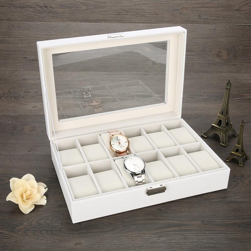 12 Slots Grid PU Leather Wrist Watch Display Box Storage Holder Organizer Watch Gift Case Bracelet Jewelry Dispay Watch Box 2018 high quality pu leather 12 slots wrist watch display box storage holder organizer watch case jewelry dispay watch box